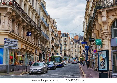 Saint Aubin Street In Angers In Loire Valley In France