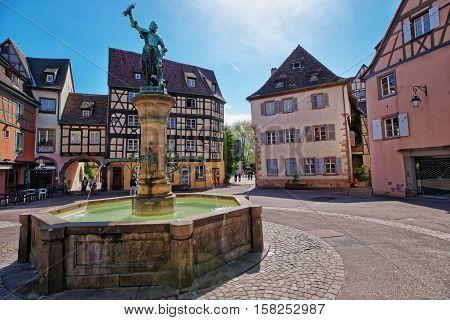 Schwendi Fountain In Colmar In Alsace In France