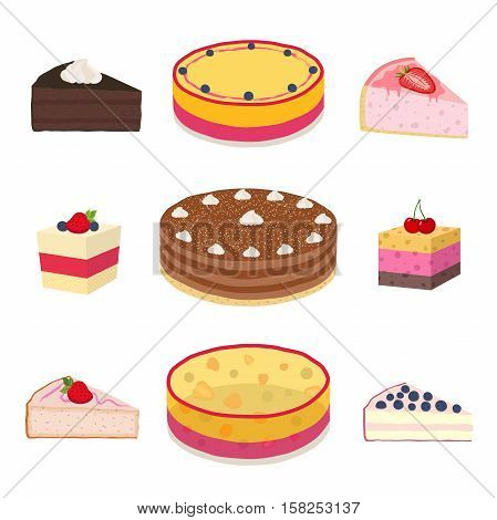 Set of different hipster cakes, cheesecakes, pies, pastry in flat style. Berry, jelly, cocoa, coffee cakes with cream