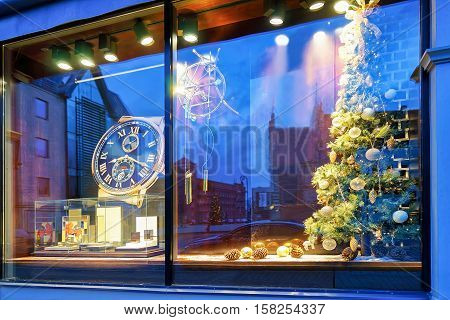 Shop Window With Christmas Tree In Old Riga Latvia