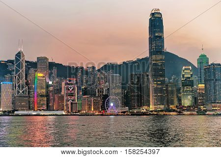 Skyline And Victoria Harbor In Hong Kong