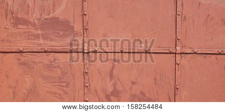 Old Brown Metal Gate With Iron Forged Decorative Grid Wide Background. Antique Castle Door Vintage Aged Texture. Monastery Gate Rusty Surface. Convent Or Abbey Door Structure. Abstract Iron Web Banner