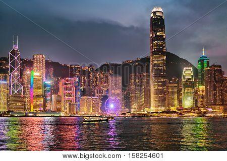 Skyline In Victoria Harbor In Hong Kong Hk