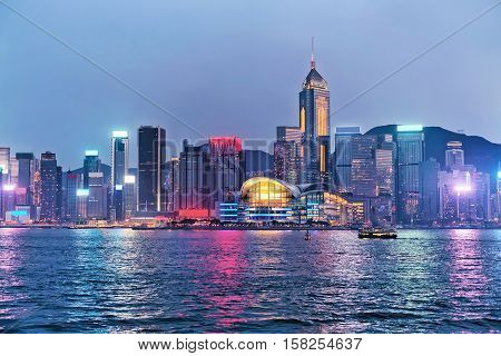 Skyline In Victoria Harbor In Hong Kong