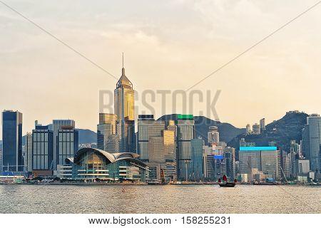 Small Junk And Victoria Harbor In Hong Kong