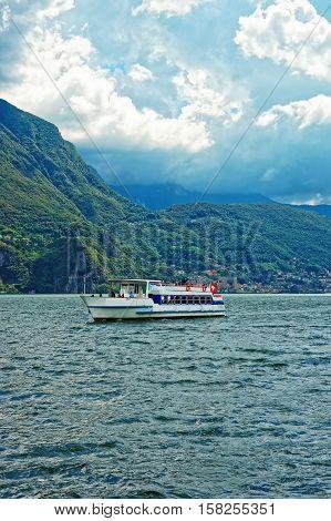 Small Passenger Ship At Promenade Of Lugano In Ticino Switzerland