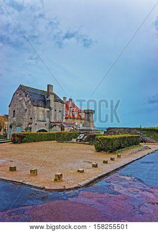 Square In Vezelay In Bourgogne Franche Comte Region Of France