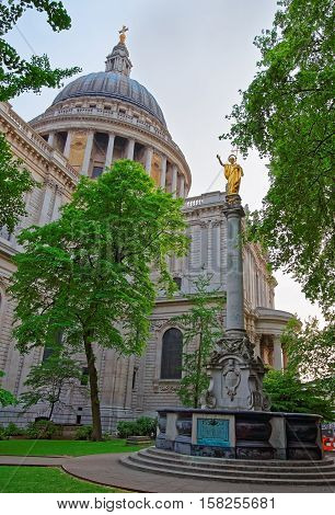 St Paul Cathedral And The Park In London In England
