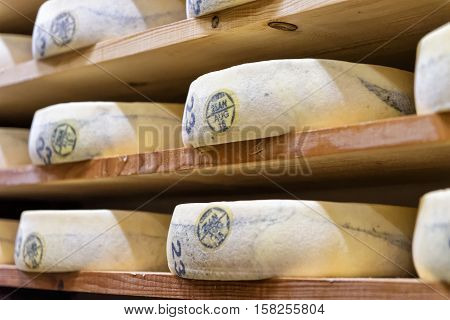 Stack Of Aging Cheese In Maturing Cellar Franche Comte Creamery