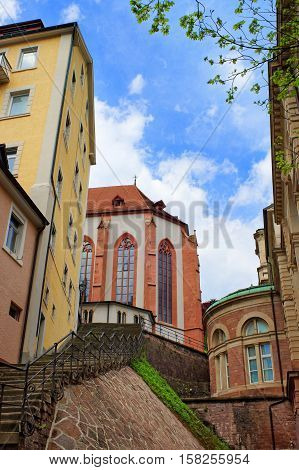 Stairs And Baden Baden Church Stiftskirche Germany