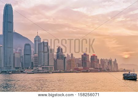 Star Ferry And Victoria Harbor In Hong Kong