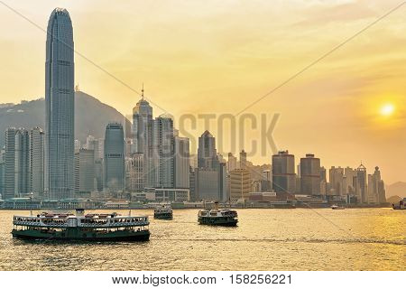 Star Ferry At Victoria Harbor In Hk At Sundown