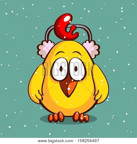 Funny cartoon chicken in earmuffs on snowy background. Vector illustration