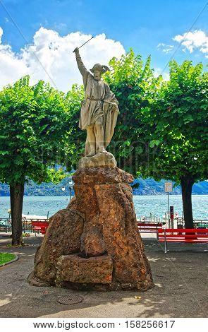 Statue Of William Tell At Promenade In Lugano Ticino Switzerland