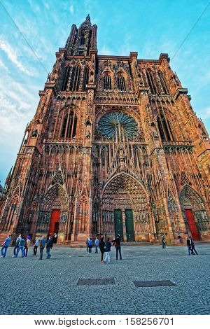 Strasbourg Cathedral In Grand East Region Of Bas Rhin Department