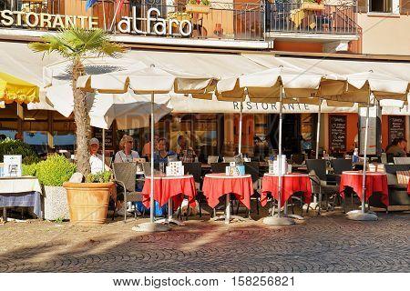 Street Restaurant Of Ascona Resort In Switzerland