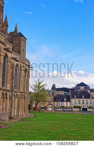 Street And Cathedral Of Our Lady Of Bayeux Of Normandy