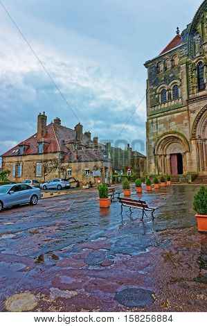 Street At Vezelay Abbey Of Bourgogne Franche Comte In France