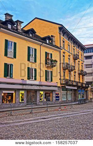 Street Of City Center In Locarno Of Ticino Switzerland