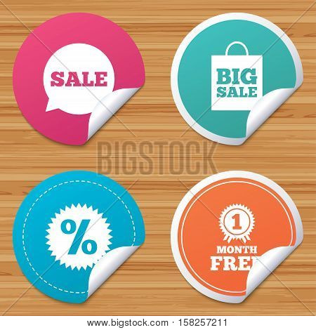 Round stickers or website banners. Sale speech bubble icon. Discount star symbol. Big sale shopping bag sign. First month free medal. Circle badges with bended corner. Vector