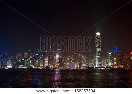 Symphony Of Lights At Victoria Harbor In Hong Kong