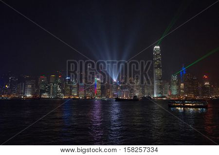 Symphony Of Lights On Victoria Harbor In Hong Kong