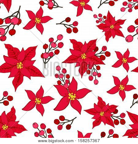Christmas Poinsettia flowers, red berries in seamless pattern background.Blossom flowers, Rowan, ashberry design element for backdrop, wallpaper, wrap.New year holiday vector