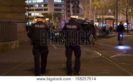 Frankfurt am Main, Hessen, Germany - November 21, 2016: Policemen patrolling in Frankfurt am Main Hauptbahnhof