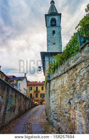 Tower Of S Antonio Church In Locarno Ticino Switzerland