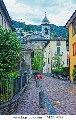 Tower Of Saint Antonio Church In Locarno Ticino Switzerland