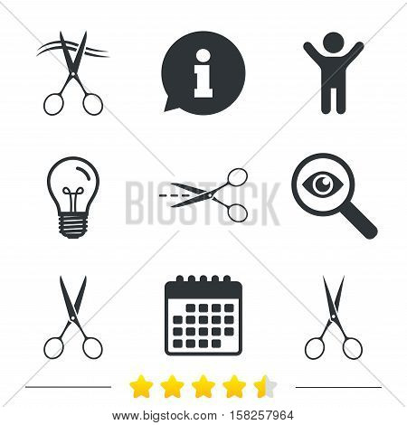 Scissors icons. Hairdresser or barbershop symbol. Scissors cut hair. Cut dash dotted line. Tailor symbol. Information, light bulb and calendar icons. Investigate magnifier. Vector