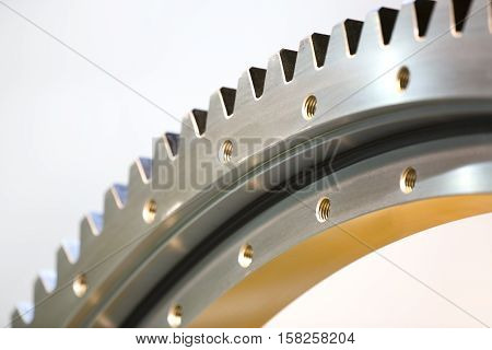 Big steel gear shot close - up photo