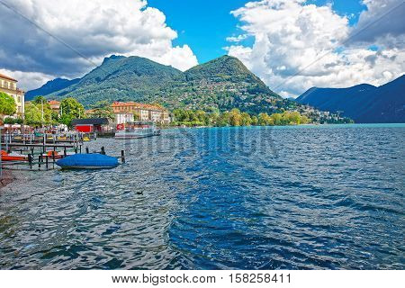 Vessels At Landing Stage In Lugano In Ticino In Switzerland