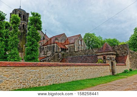 Vezelay Abbey At Courtyard In Bourgogne Franche Comte In France
