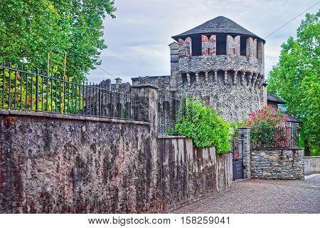 Visconteo Castle In City Center In Locarno Of Ticino Switzerland