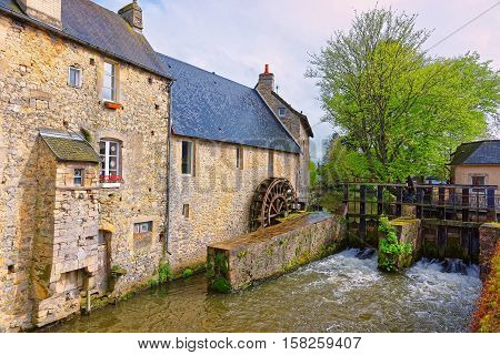 Water Mill And Aure River In Bayeux At Normandy France