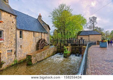 Water Mill And Aure River In Bayeux Of Normandy France