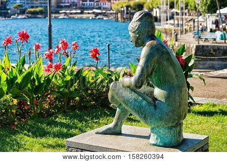 Woman Statue At Promenade In Ascona Of Ticino Switzerland