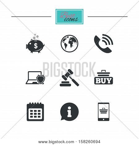 Online shopping, e-commerce and business icons. Auction, phone call and information signs. Piggy bank, calendar and smartphone symbols. Black flat icons. Classic design. Vector