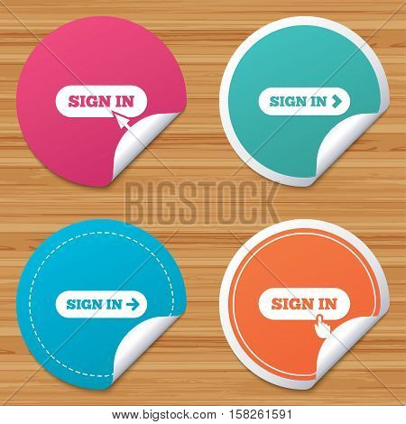 Round stickers or website banners. Sign in icons. Login with arrow, hand pointer symbols. Website or App navigation signs. Circle badges with bended corner. Vector