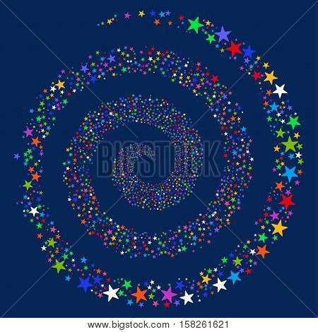 Fireworks Star Spiral vector image. This New Year Pyrotechnic illustration is drawn with multi-colored flat bright stars.