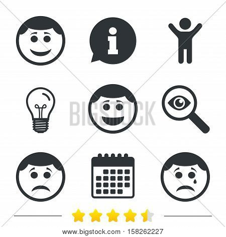 Circle smile face icons. Happy, sad, cry signs. Happy smiley chat symbol. Sadness depression and crying signs. Information, light bulb and calendar icons. Investigate magnifier. Vector
