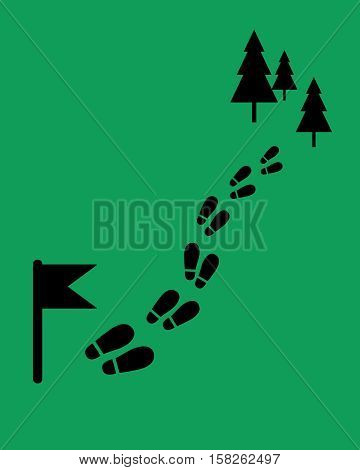 The way to the camp. Footstep with flag and trees. Flat style