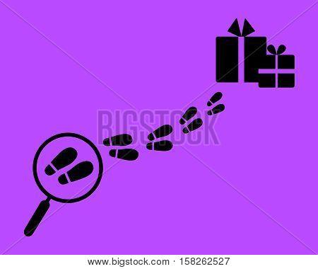 Find a gift. Magnifying glass with footstep and surprise. Flat style.