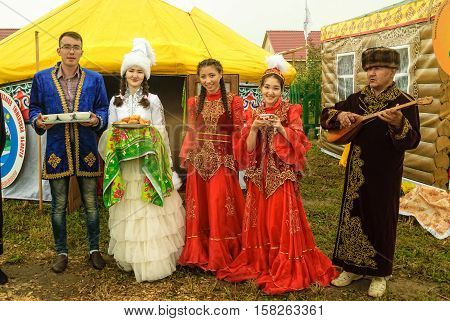 Tyumen, Russia - June 24, 2016: The 5th open championship of Russia on a plowed land. Hospitality on the cultural platform of the Kazakh people
