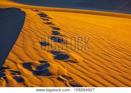 Sandy Desert in Mesquite Flat. Along the edge of the sand dunes is a chain of deep tracks