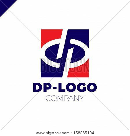 Letter D And Letter P Logo. Pd, Dp Initial Overlapping In Square Letter Logotype