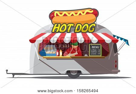 Hot dog trailer. Fast food. Isolated. The man in the trailer. Vector illustration
