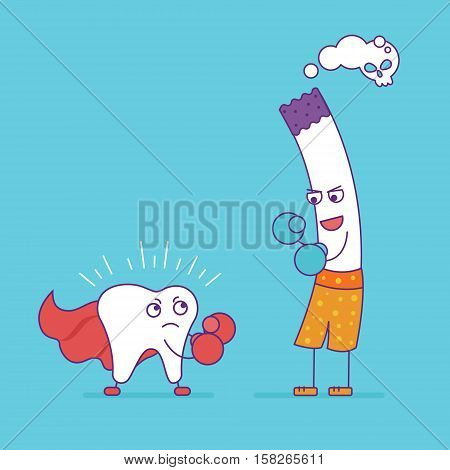 White Tooth Fighting Or Boxing With Cigarette. Cartoon Characters In Flat Line Style. Bad Habits, Sm