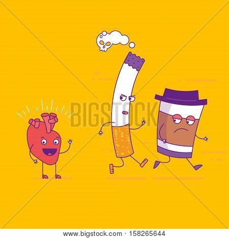 Smiling Heart Fights Cigarette And Paper Coffee Cup Cartoon Characters In Flat Style. Bad Habits, Sm